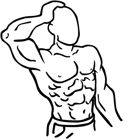 3d drawing of man stretching his neck