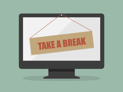 """Take a break"" sign on a cartoon computer monitor"