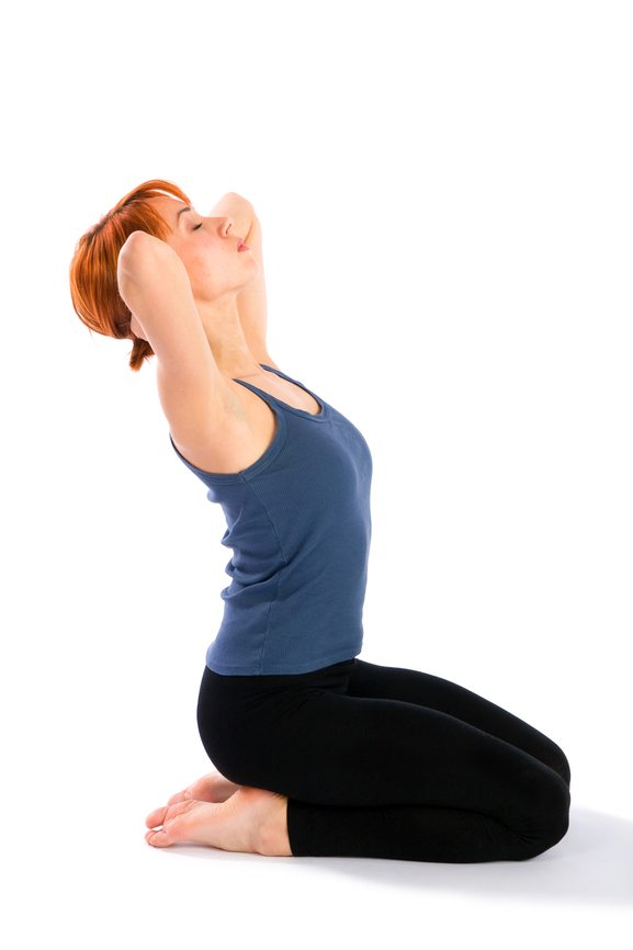 woman extending her middle back