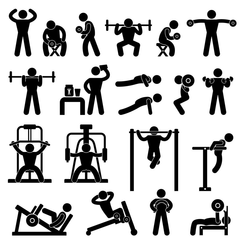 collage of strength exercise positions