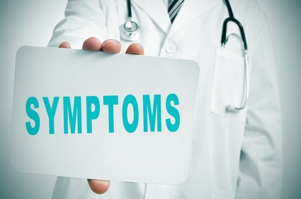 sign of doctor holding card with symptoms