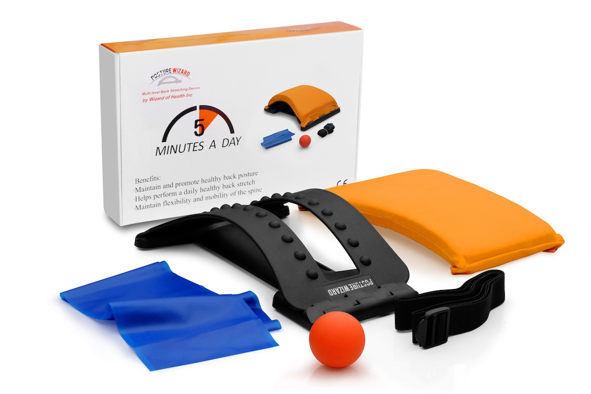 All posture wizard components including the back stretcher, strengthening band, ball and packaging